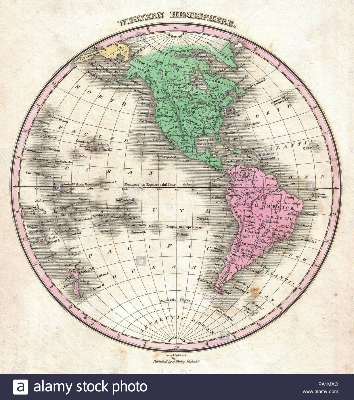 1827, Finley Map of the Western Hemisphere, North America, South ...