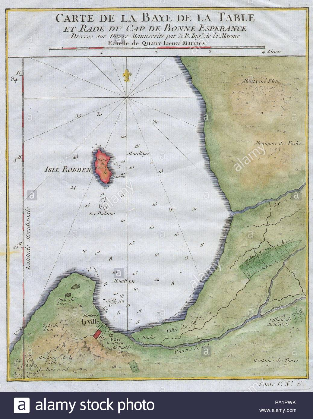 1763 Bellin Map Of Cape Town Cape Of Good Hope South Africa Stock
