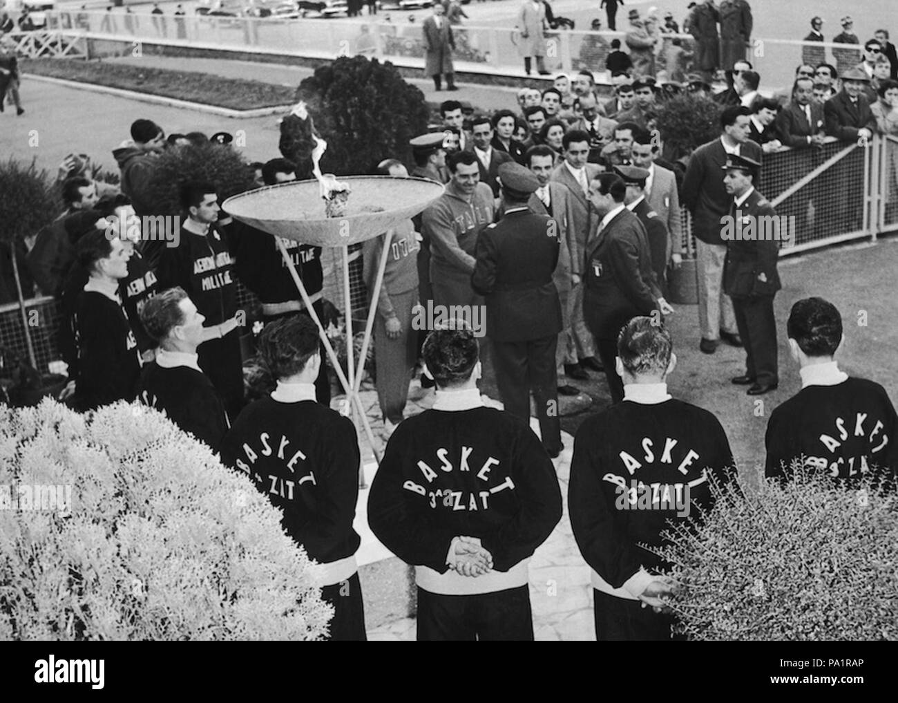 56 Cortina 1956 Winter Olympics - Olympic flame in Rome - Stock Image