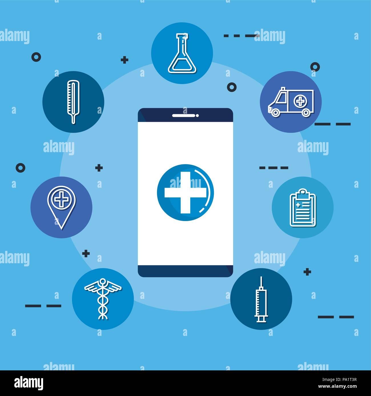 smartphone with telemedicine icons - Stock Image