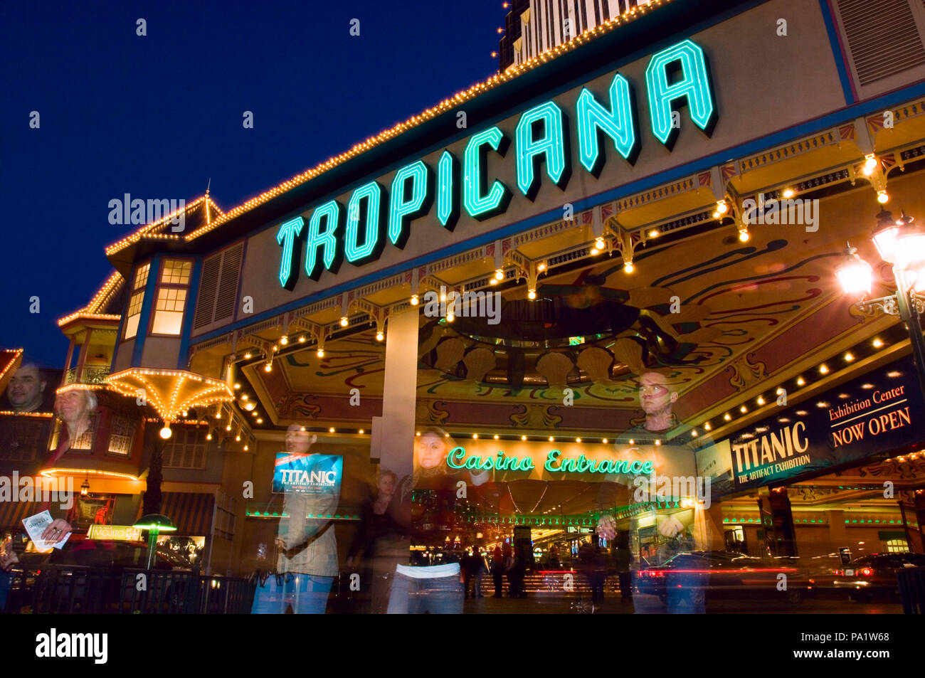 The Tropicana, which   opened in April 1957 has a long and colorful history with mob ties.    Suspicions were raised immediately over links to organiz - Stock Image
