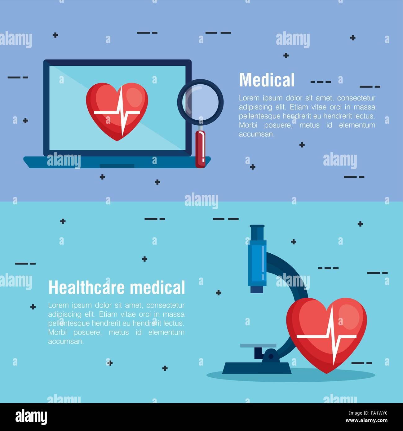 laptop with telemedicine icons - Stock Image