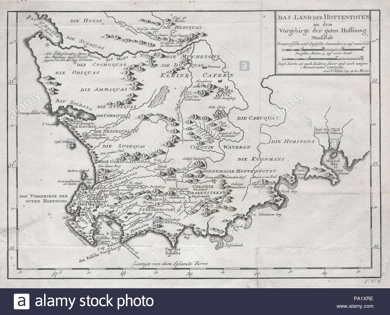 1757, Bellin Map of South Africa and the Cape of Good Hope Stock ...