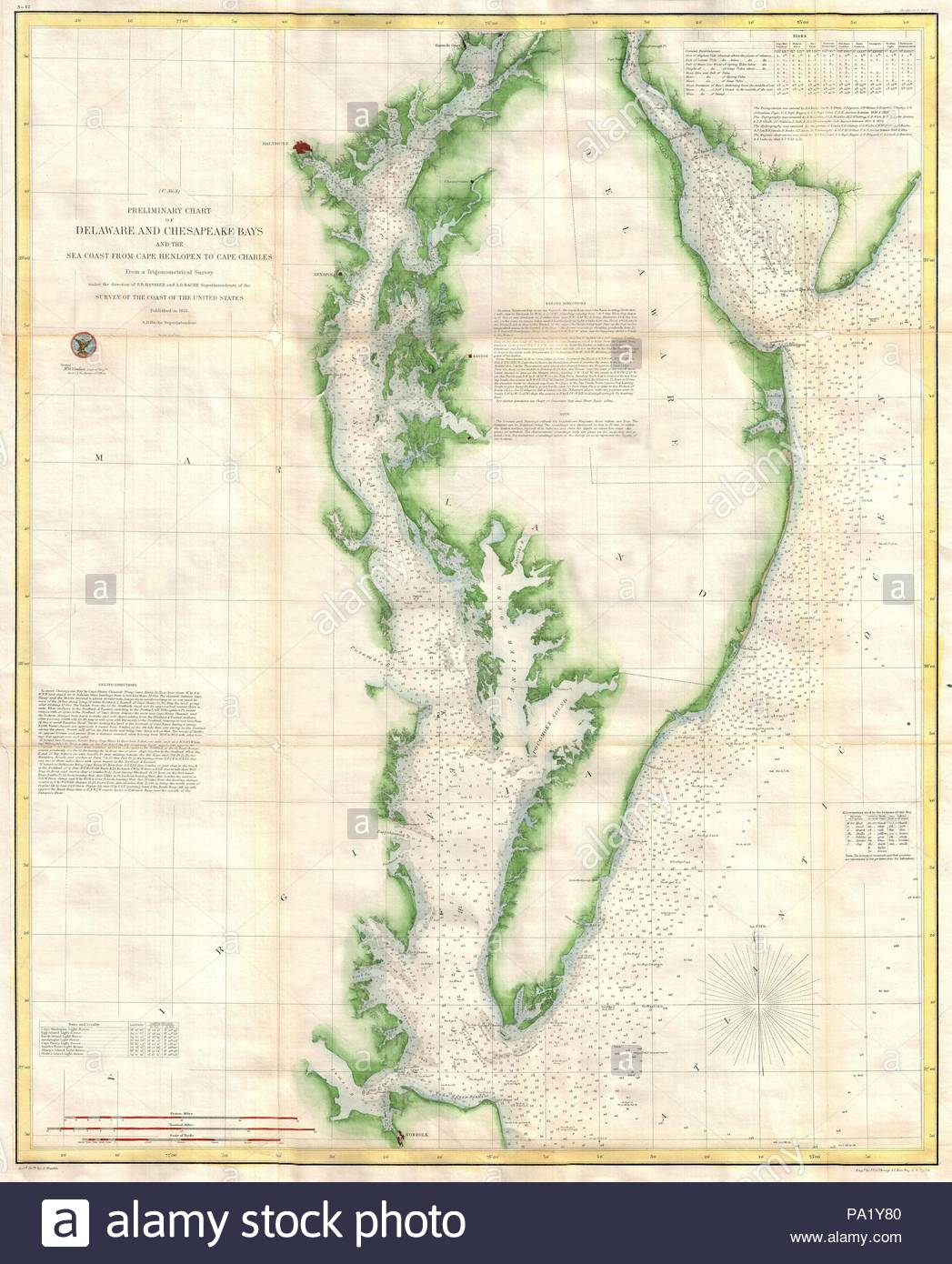 1855, U.S. Coast Survey Chart or Map of Chesapeake Bay and Delaware on