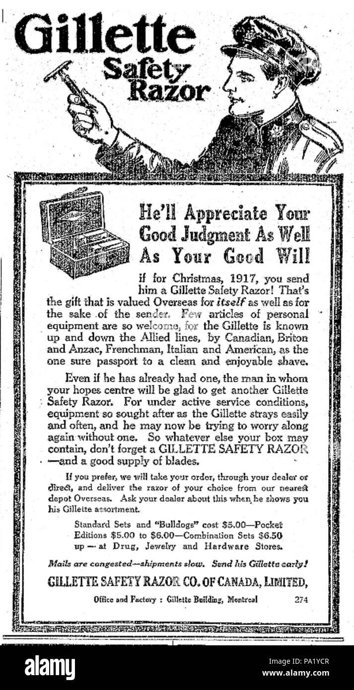 711 Gillette Safety Razor Canada ad Stock Photo: 212714455