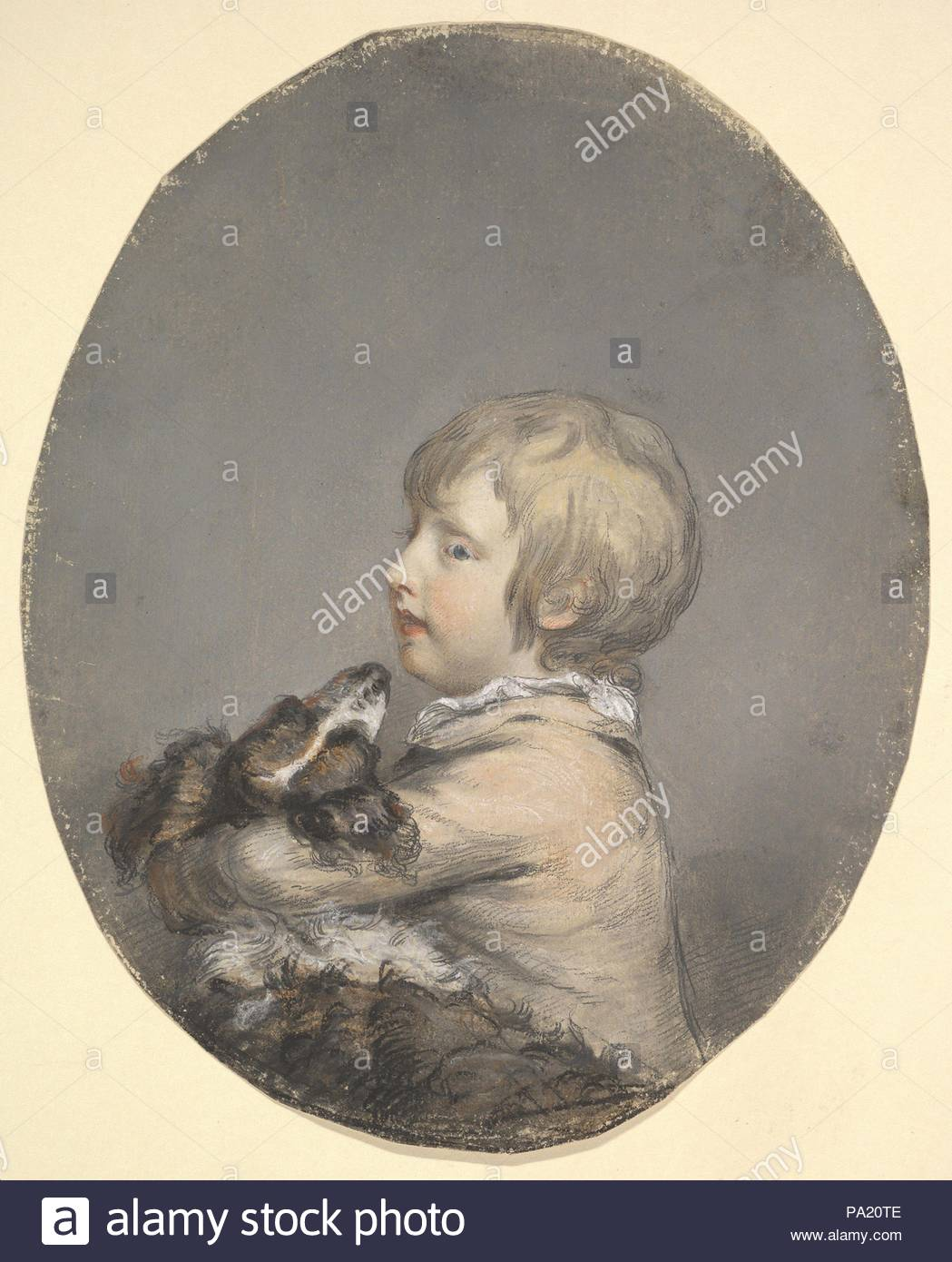 William Evelyn of St Clere, Kent, Holding a Spaniel, ca. 1768–89, Pastel, Sheet: 10 1/2 x 8 3/8 in. (26.7 x 21.3 cm), Drawings, Hugh Douglas Hamilton (Irish, Dublin 1739–1808 Dublin), Hamilton belonged to a group of accomplished pastellists trained at the Dublin Society School of Drawing, run by Robert West (ca. 1720–1790) and James Mannin (active 1746–79). The artist moved to London around 1764 and worked from a Pall Mall address in London's fashionable West End. - Stock Image