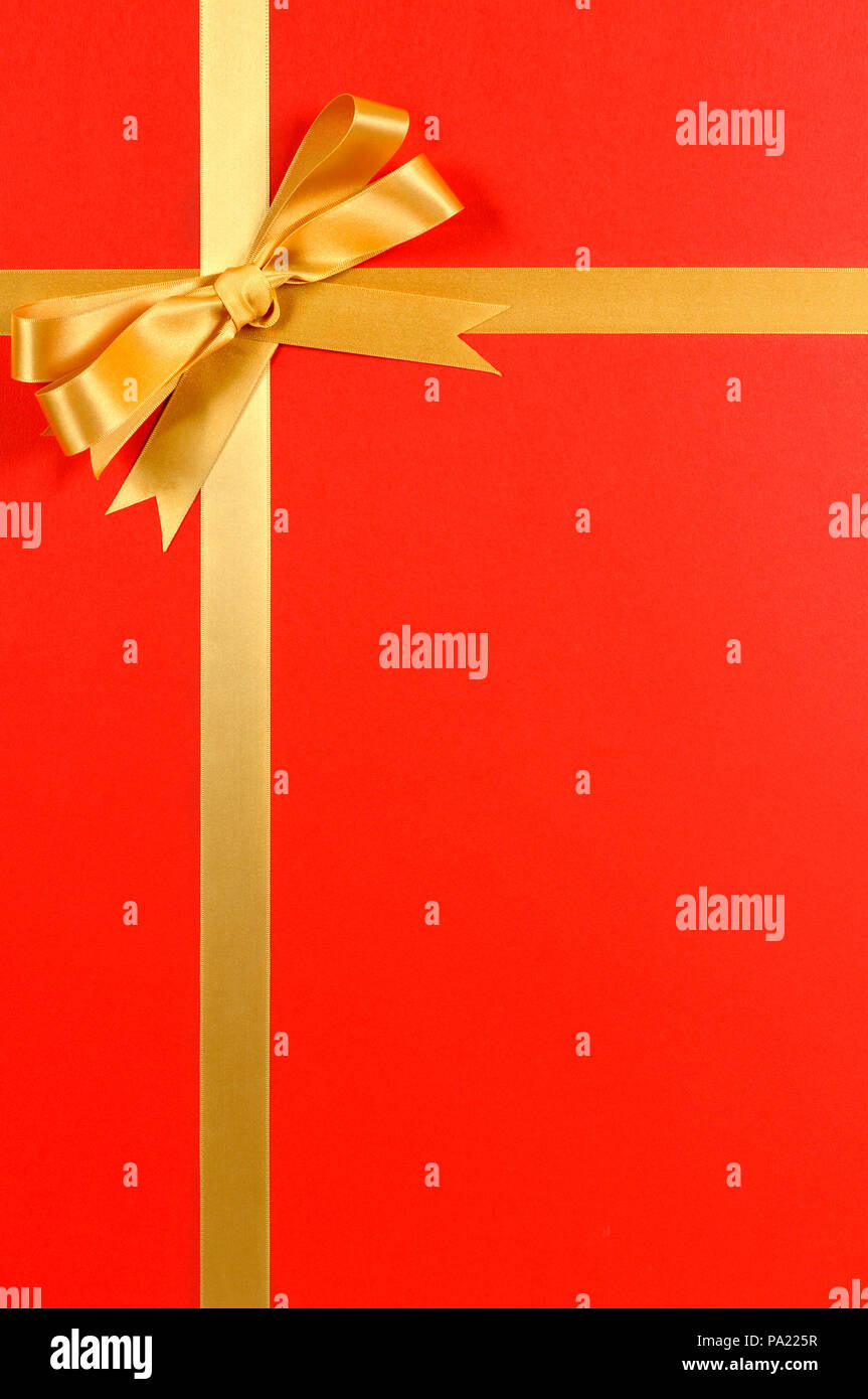 Christmas Gift Border Gold Ribbon Bow Red Background Vertical