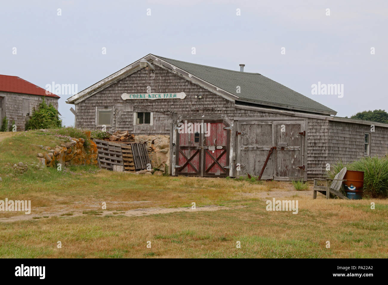 The barn at Corne Neck Farm in Block Island, Rhode Island. - Stock Image