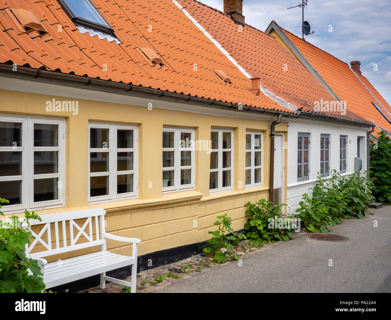 Cottages in the maritime town of Marstal, Aero Island, Denmark. - Stock Image