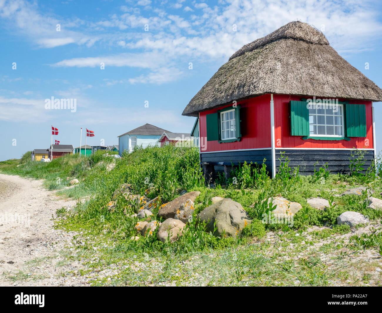 Beach huts at Marstal, Aeroe Island, Denmark, Europe. Stock Photo