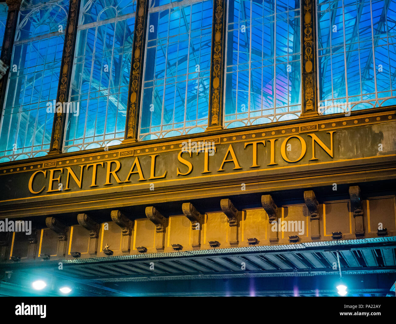 Central Station sign at night, Glasgow, Scotland, UK. Stock Photo