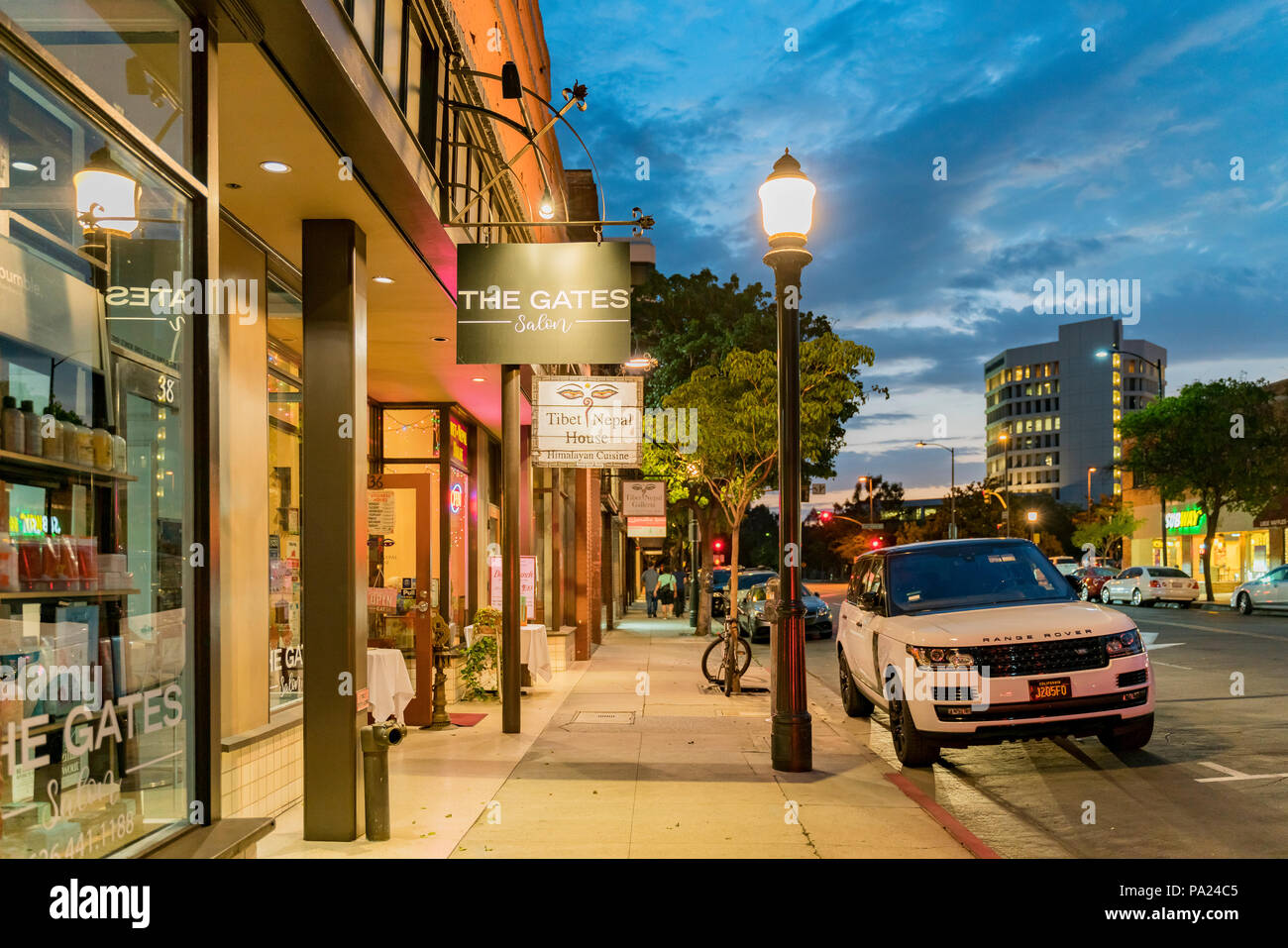 Pasadena, JUL 11: Beautiful night street view on JUL 11, 2018 at Pasadena, Los Angeles County, California - Stock Image