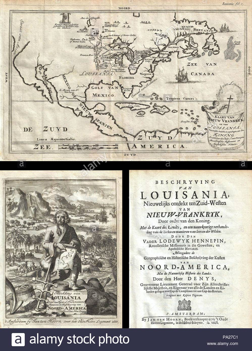 North Louisiana Map.1688 Hennepin First Book And Map Of North America First Printed
