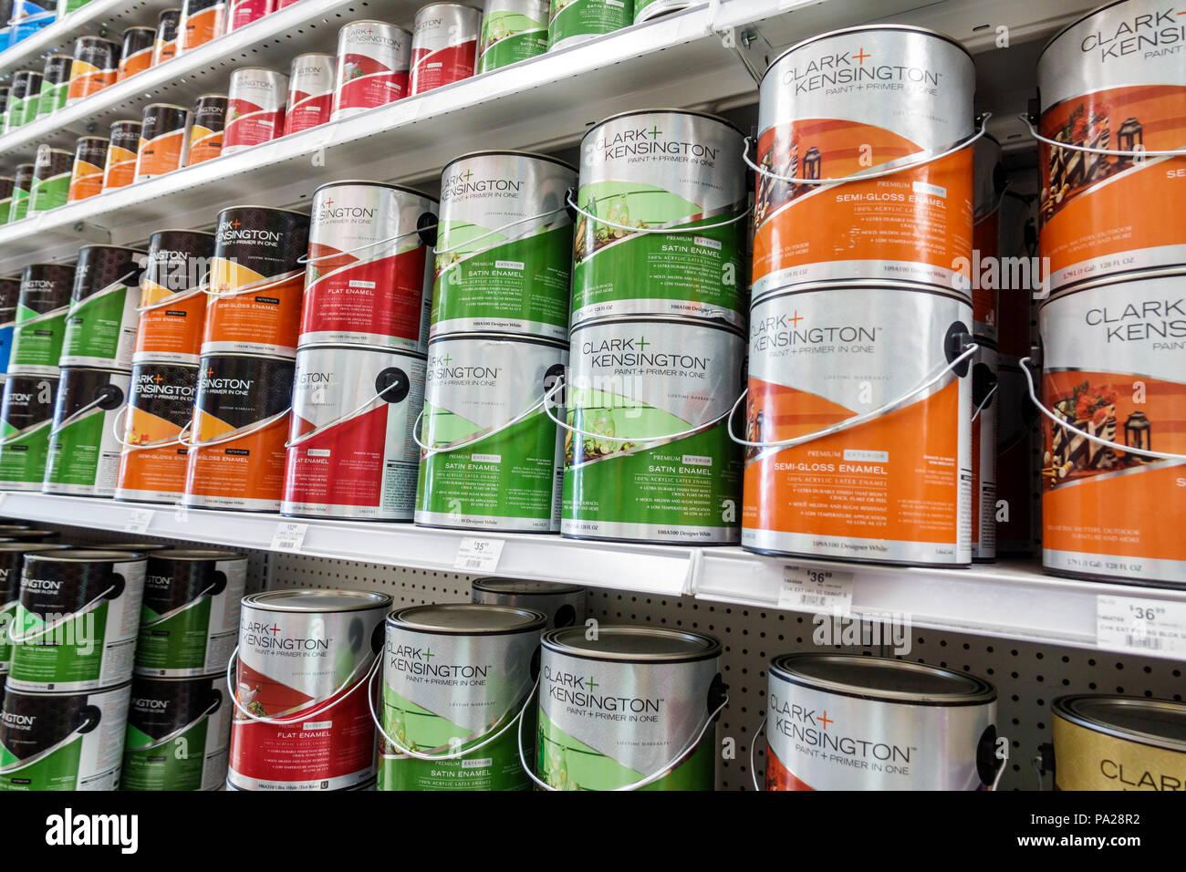 Florida Orlando Ace Hardware Household Hardware Home Improvement Gallon Paint Cans Clark Kensington Acrylic Latex Shelves Display Sale Inte Stock Photo Alamy