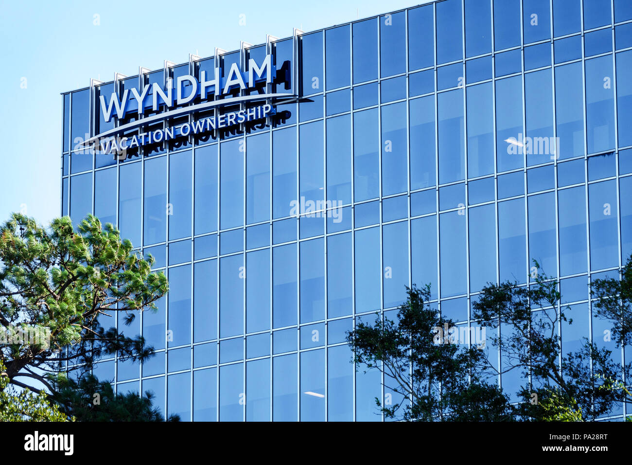 Orlando Florida Wyndham Vacation Ownership corporate headquarters timeshare agency building exterior sign - Stock Image