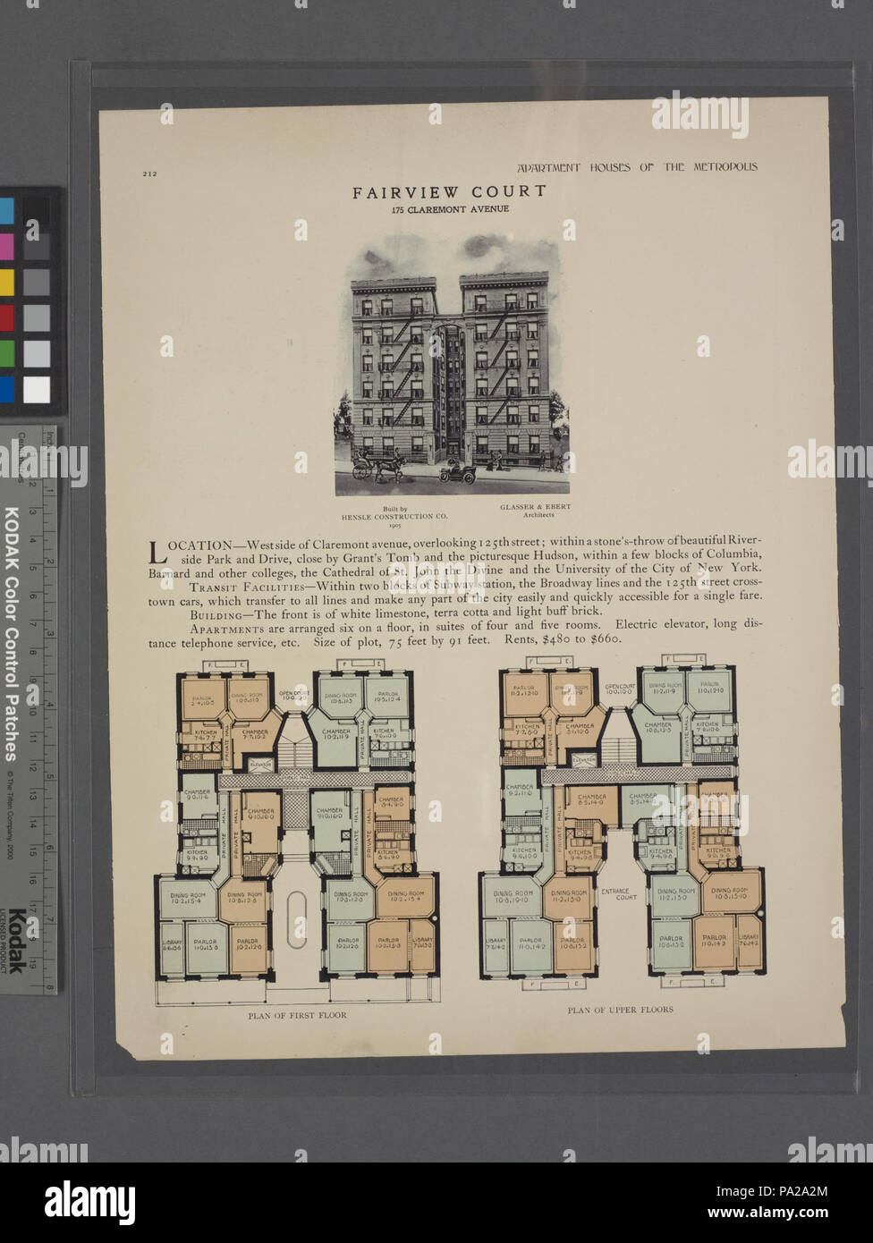 637 Fairview Court, 175 Claremont Avenue; Plan of first floor; Plan of upper floors (NYPL b12647274-465636) - Stock Image