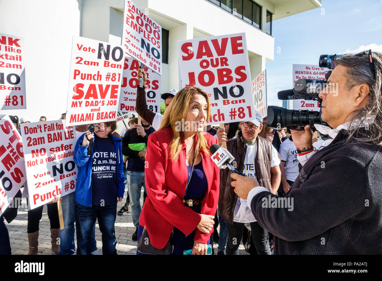 Miami Beach Florida City Hall hotel workers protest