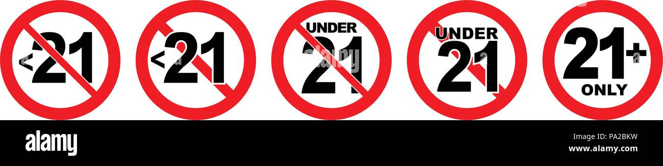 Under 21 not allowed sign. Number twenty one in red crossed circle. - Stock Image