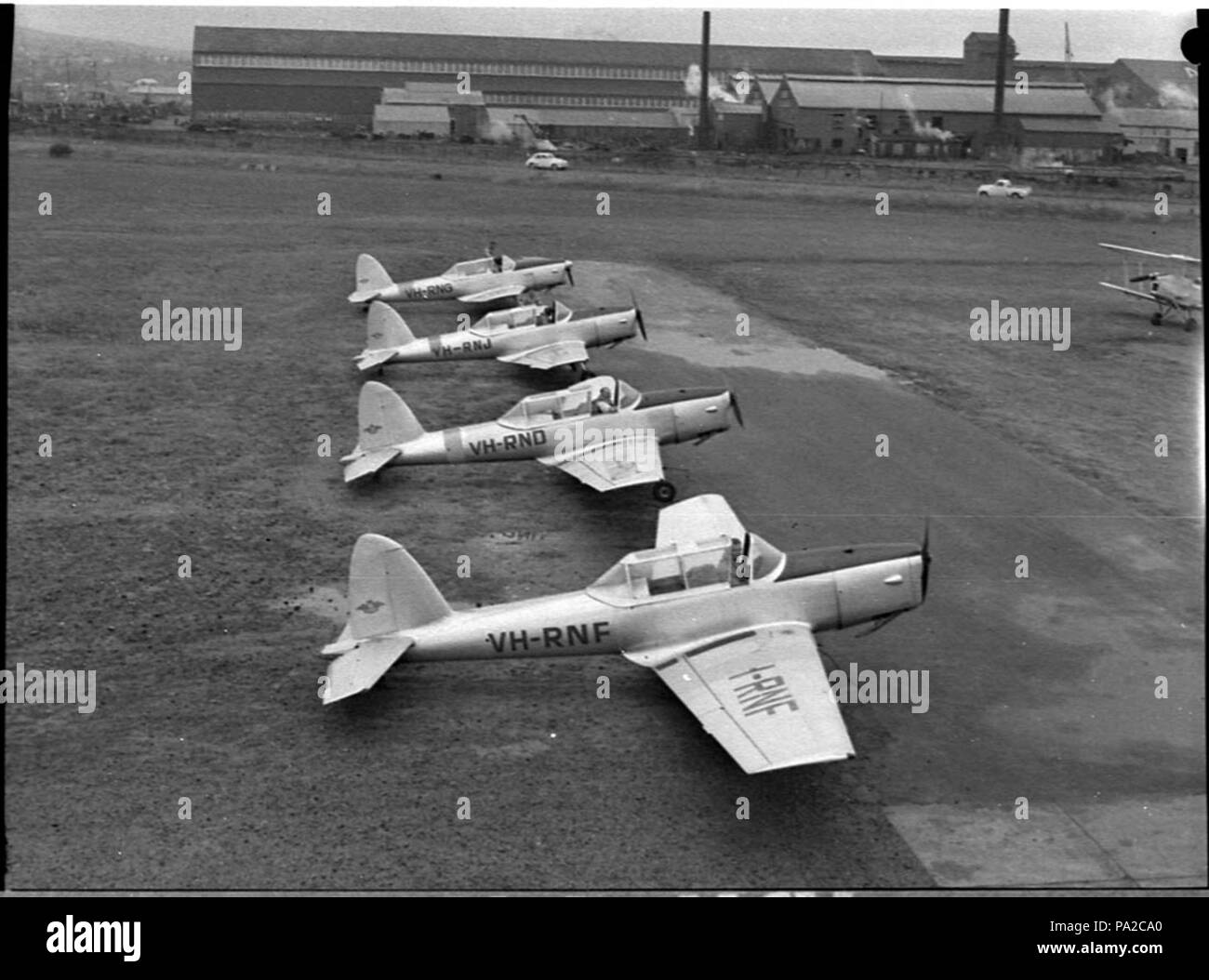 263 SLNSW 37847 Royal Newcastle Aero Club planes leaving for Hobart for regatta - Stock Image