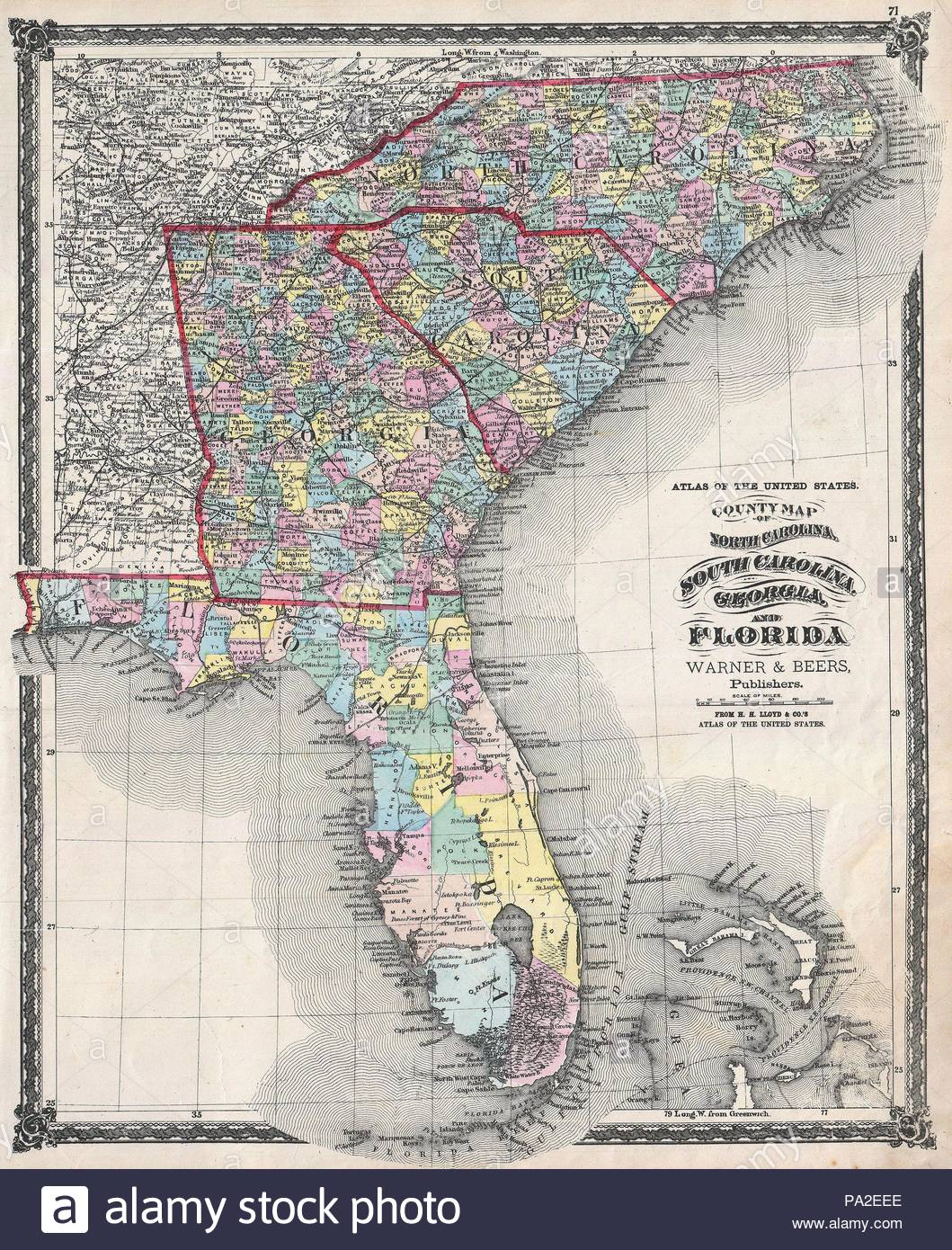 1874, Beers Map of Florida, Georgia, North Carolina and South ...