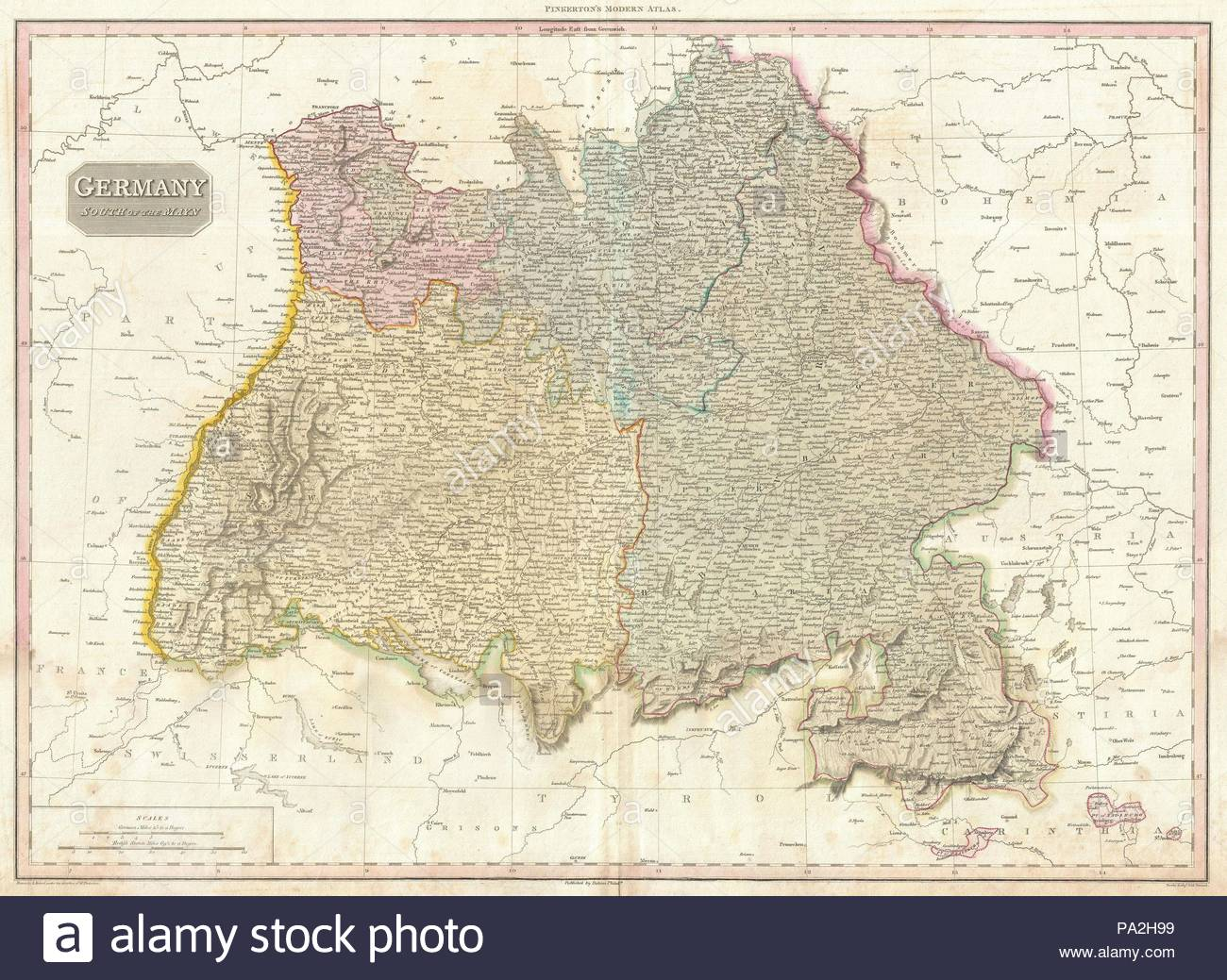 1818, Pinkerton Map of Southwestern Germany, Bavaria, Swabia, John