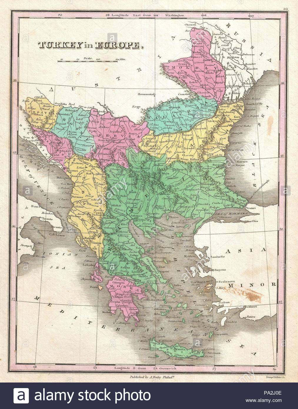1827, Finley Map of Turkey in Europe, Greece and the Balkans ...