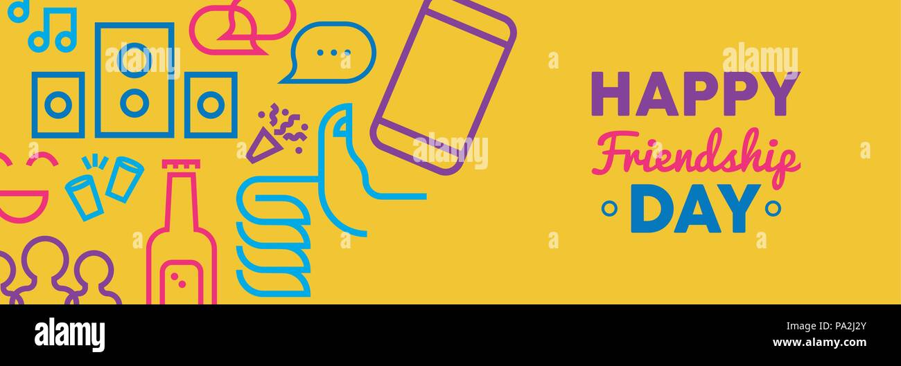 Happy Friendship Day Web Banner Illustration Fun Outline Party