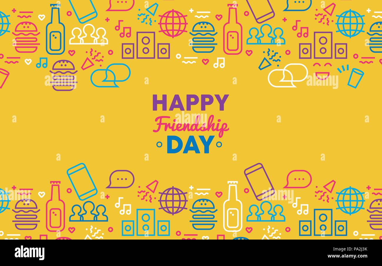 Happy friendship day greeting card illustration with fun party icon happy friendship day greeting card illustration with fun party icon decoration in outline style modern social network symbols for internet friends or m4hsunfo