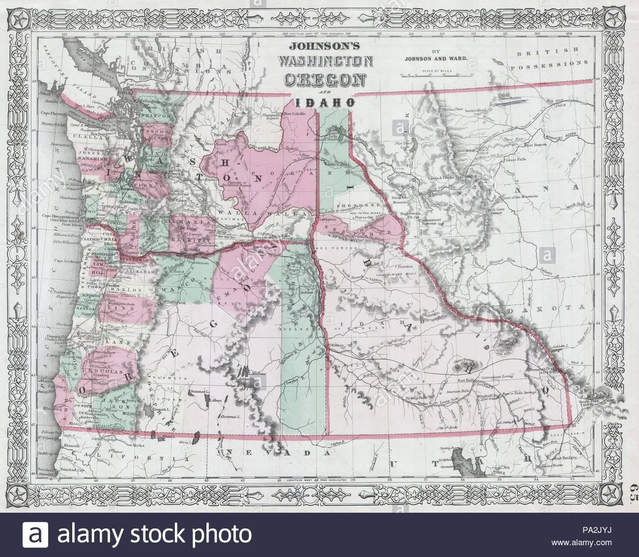 1864 Johnson Map Of Washington Oregon And Idaho Stock Photo