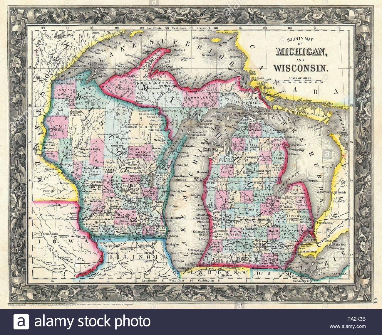 Michigan And Wisconsin Map.1860 Mitchell Map Of Michigan And Wisconsin First Edition Stock