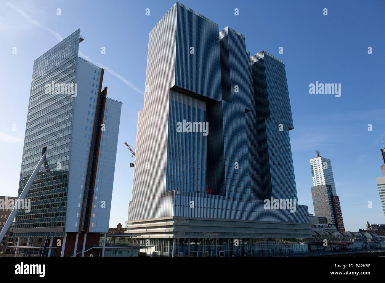 Facade of the de rotterdam building in rotterdam the netherlands