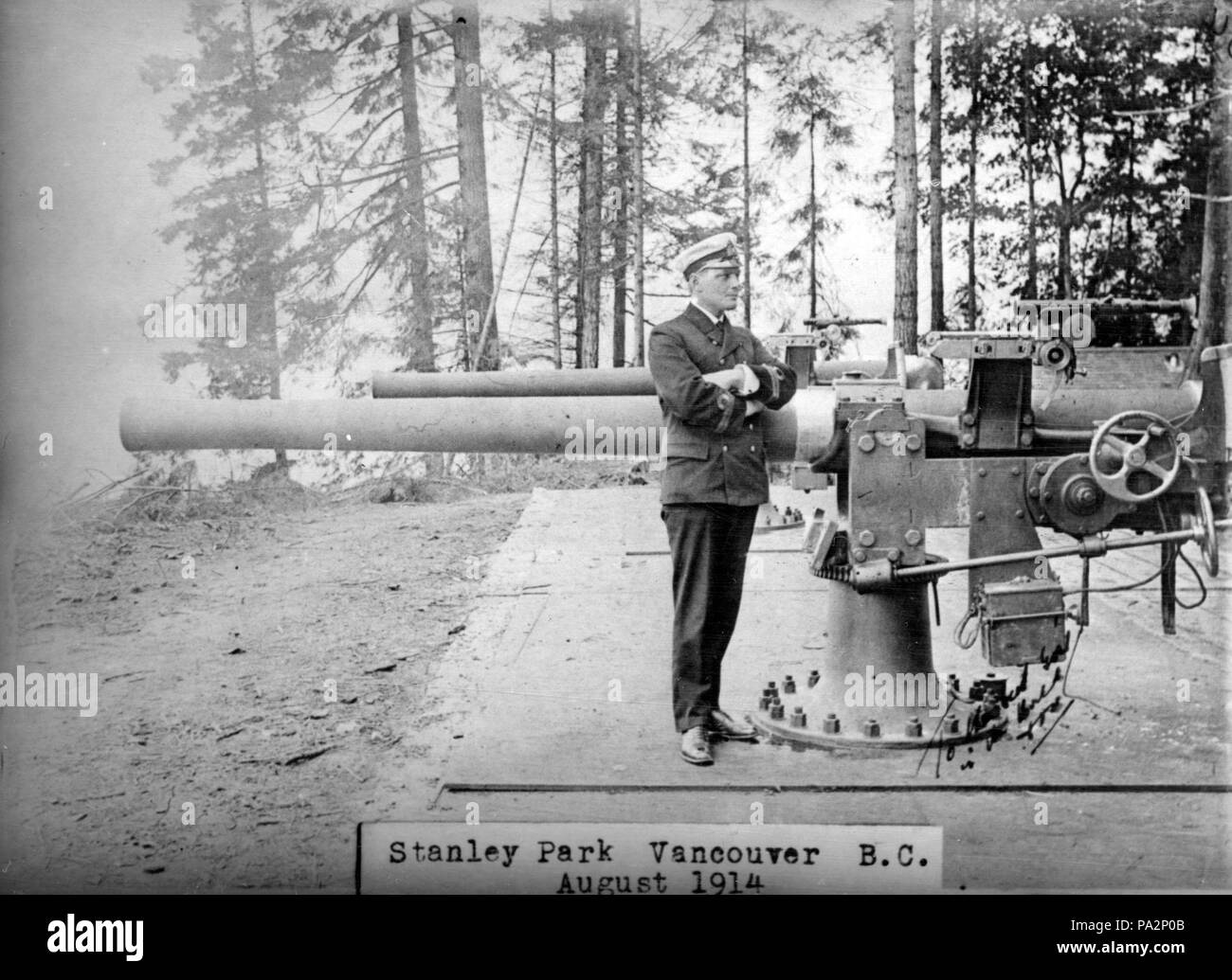 208 QF 4-inch guns in Stanley Park Aug 1914 - Stock Image