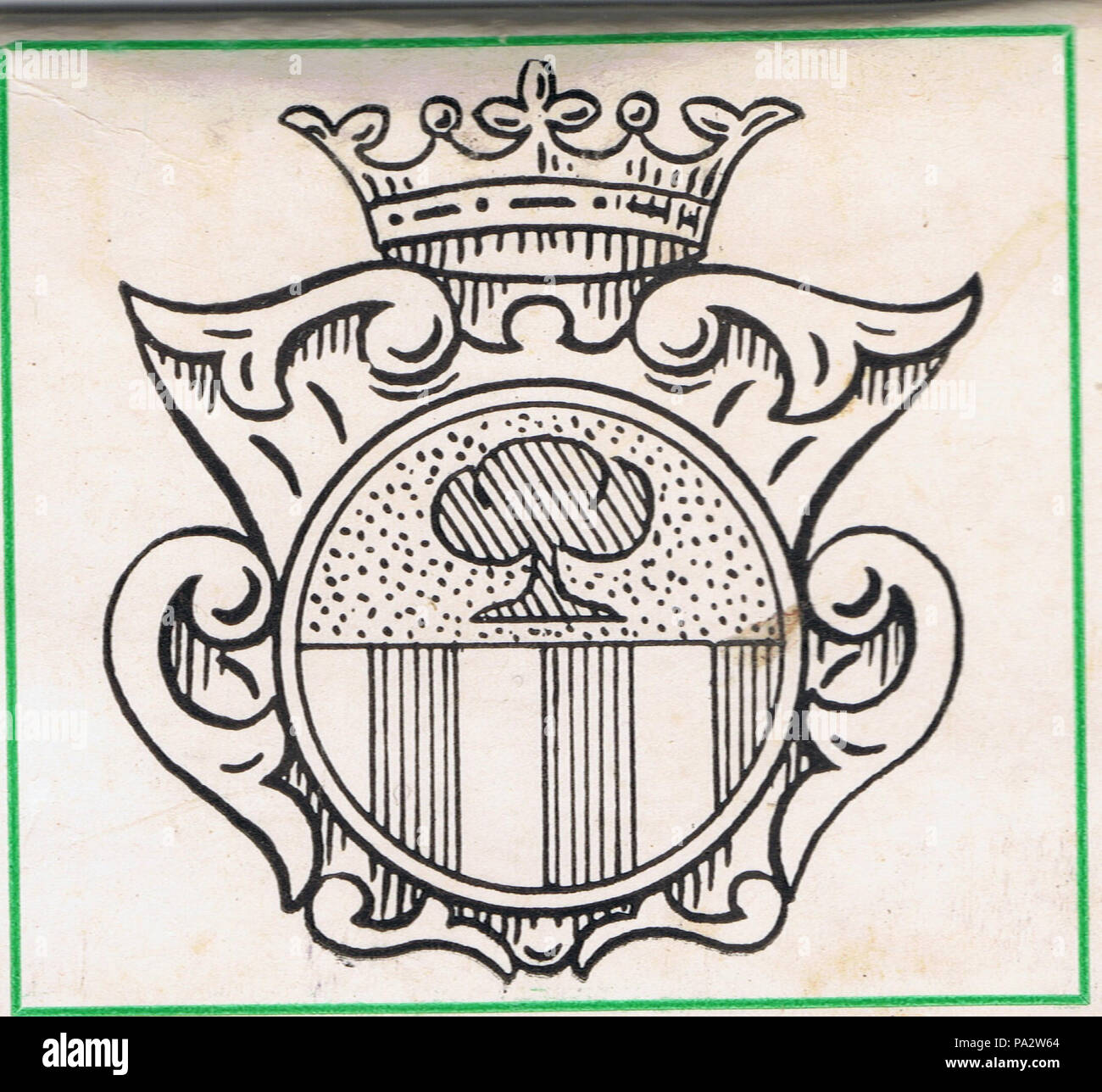 375 De Salis shield motif used as the cover of a flat matchstick pack. c. 1972 adaption of c. 1734 design - Stock Image