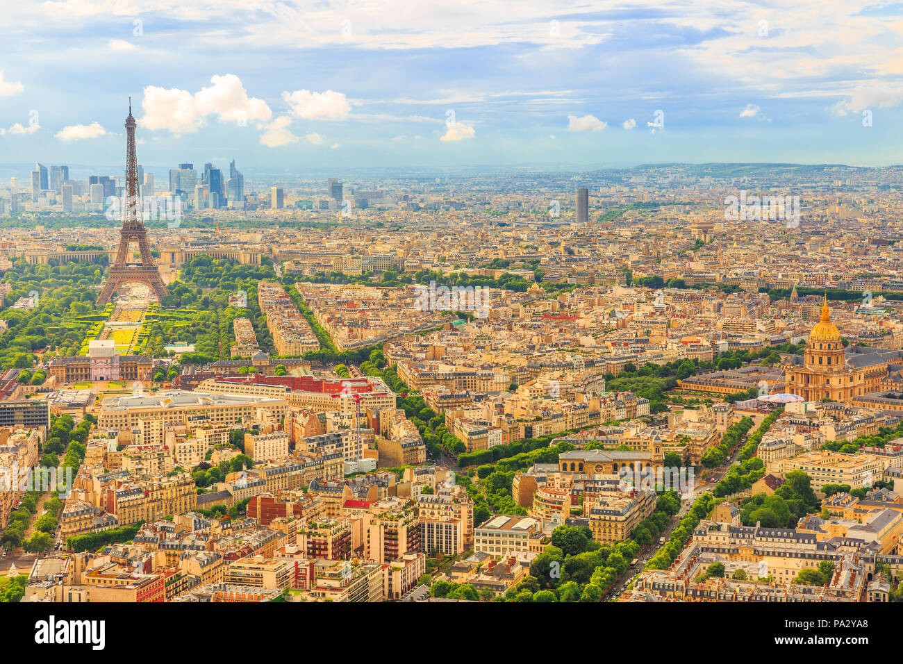Tour Eiffel and national residence of the Invalids from Observatory Deck of Tour Montparnasse. Aerial view of Paris skyline and cityscape. Top of the Tour Montparnasse tower of Paris city in France. Stock Photo