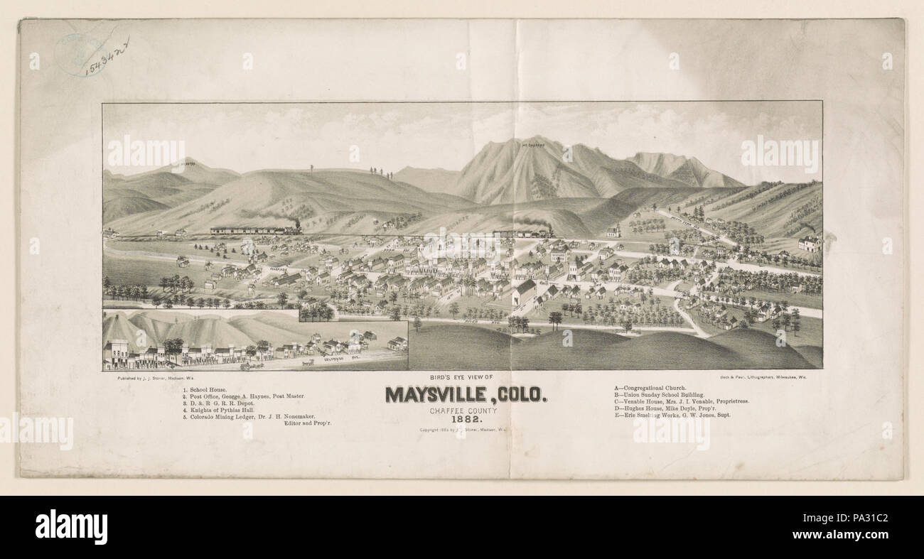 205 Bird's eye view of Maysville, Colo. Chaffee County 1882 LCCN2003654959 - Stock Image