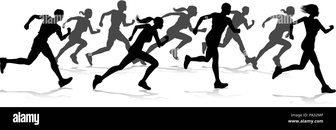 Runners Race Track and Field Silhouettes Stock Vector