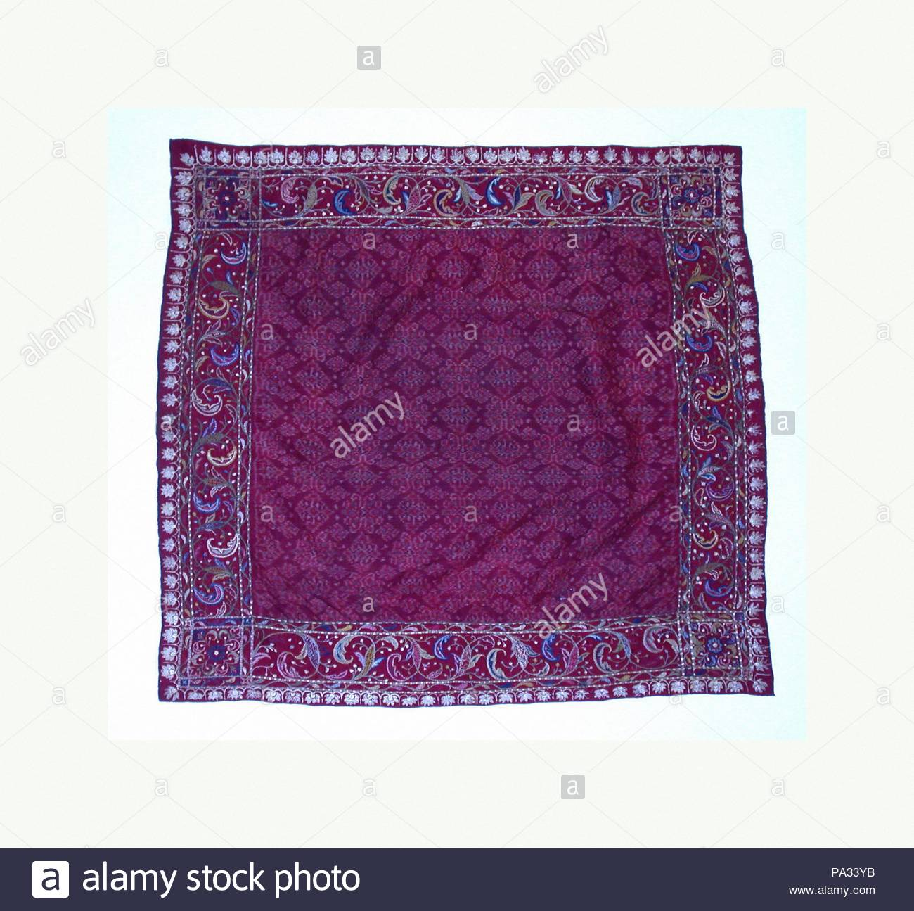 Headcloth, 18th–19th century, Indonesia, Sumatra, Palembang, Palembang, Silk, H x W: 34 1/4 x 34 1/4 in. (87 x 87 cm), Textiles-Woven. - Stock Image