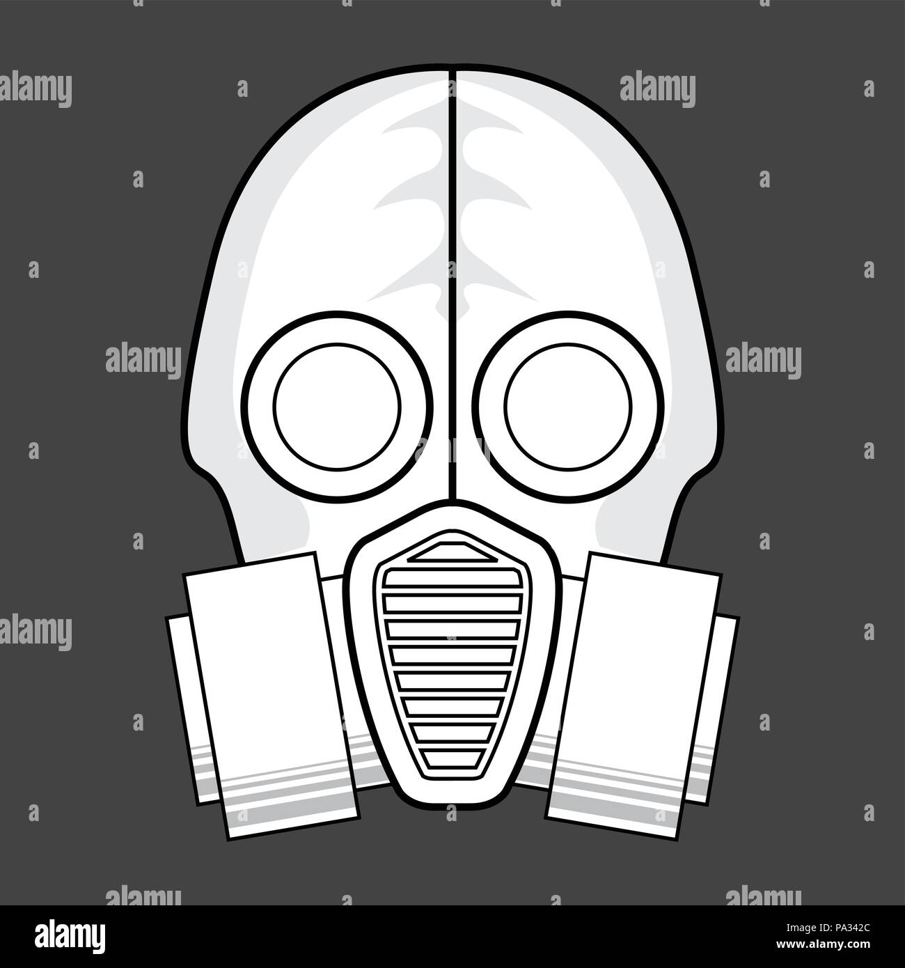 Protective gas mask  icon - respirator front view - Stock Image