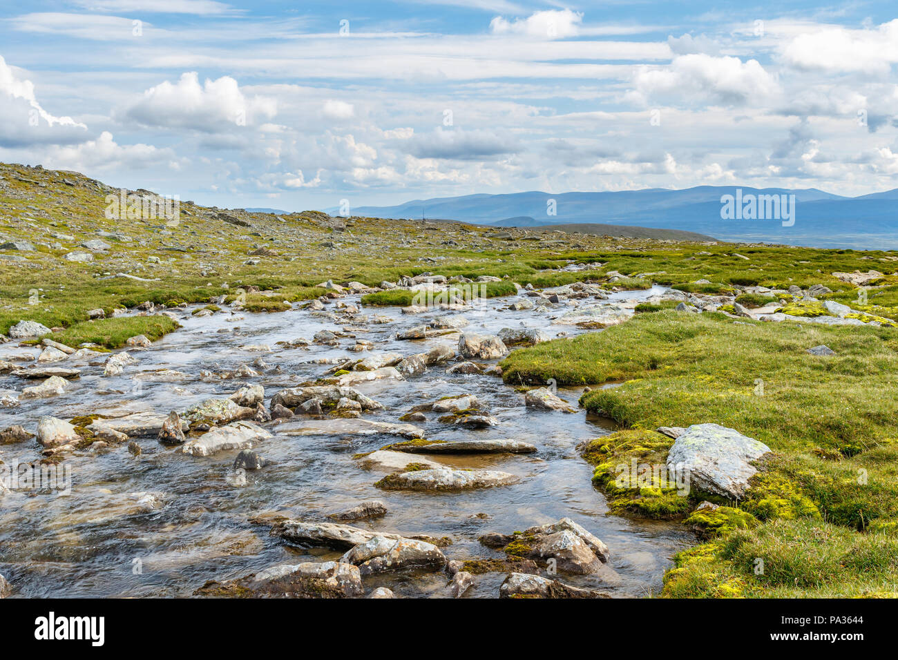River on a high country landscape - Stock Image