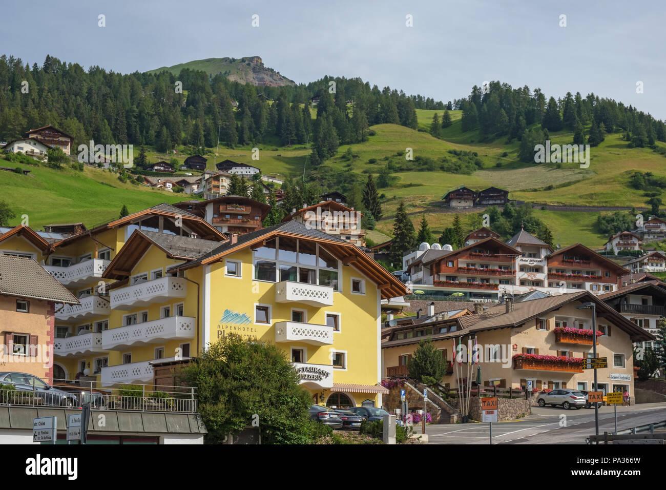 Cityscape at Santa Cristina in Val Gardena in Italy Stock Photo