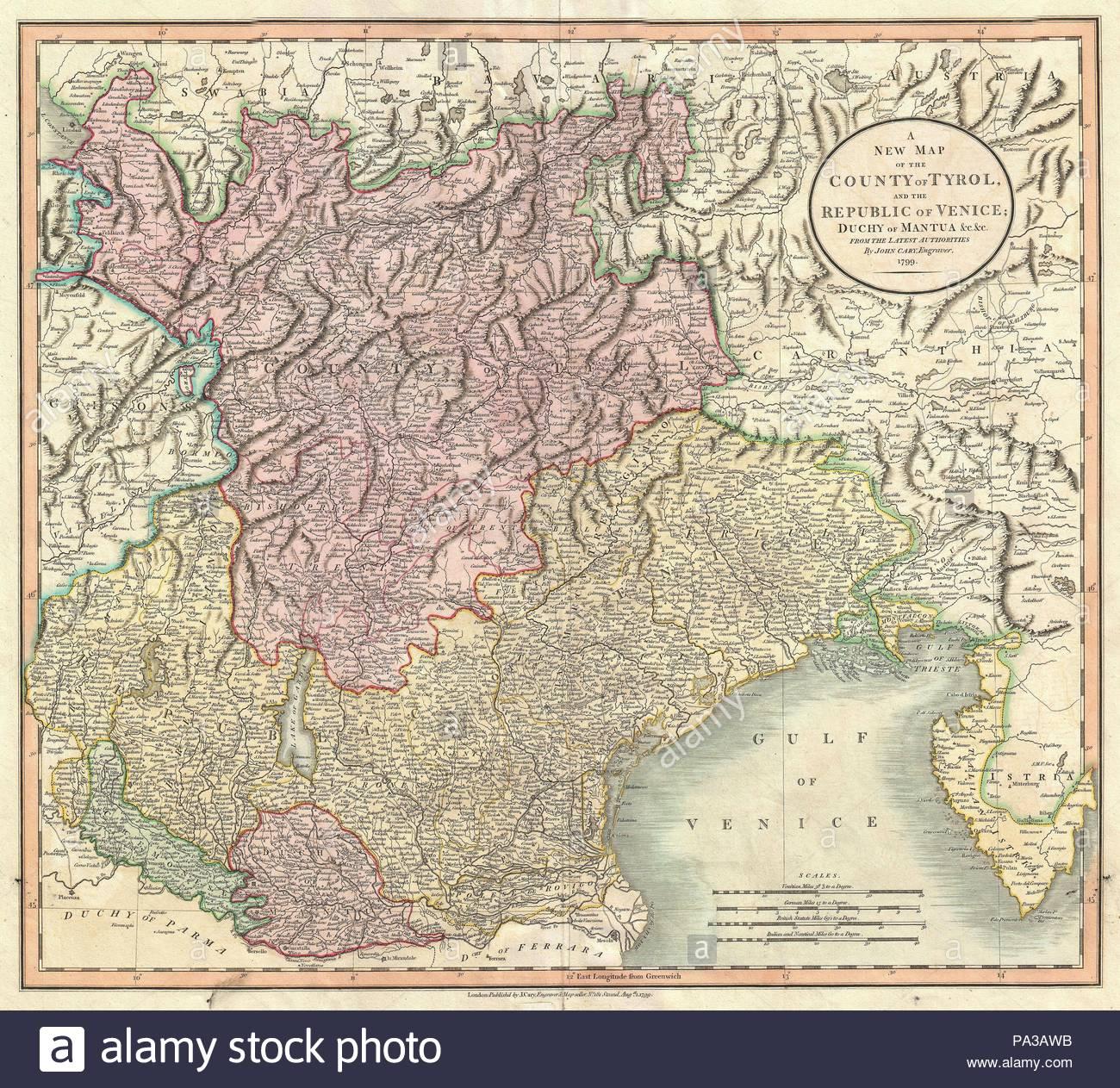 1799, Cary Map of Mantua, Venice and Tyrol, Italy, John Cary, 1754 – 1835,  was an English cartographer, John Cary, 1754 – 1835, English cartographer.