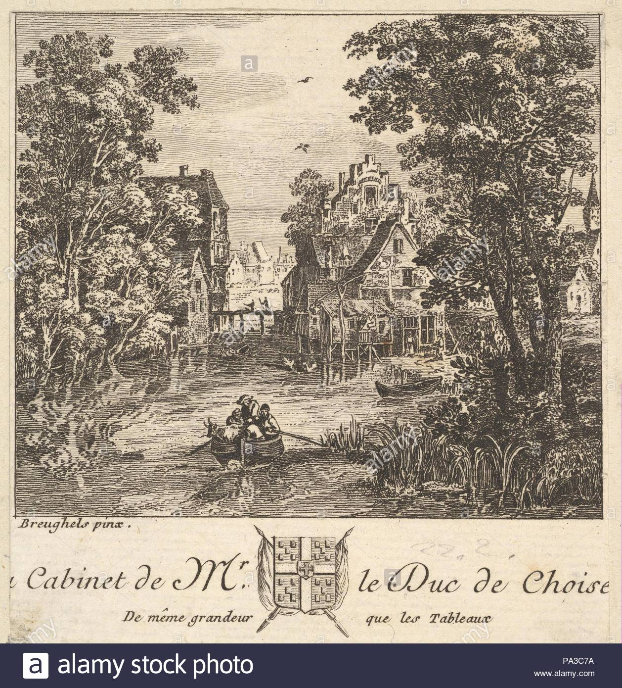 Boat On A River Near A Town After A Painting In The Cabinet Of The Duc De  Choiseul, Etching And Engraving, Sheet: 3 15/16 X 3 3/4 In. (10 X 9.5 Cm),  Prints, ...
