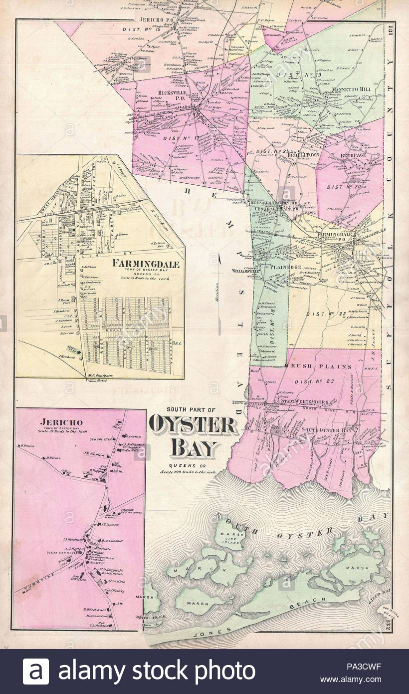 Oyster Bay New York Map.1873 Beers Map Of Oyster Bay Queens New York City Stock Photo