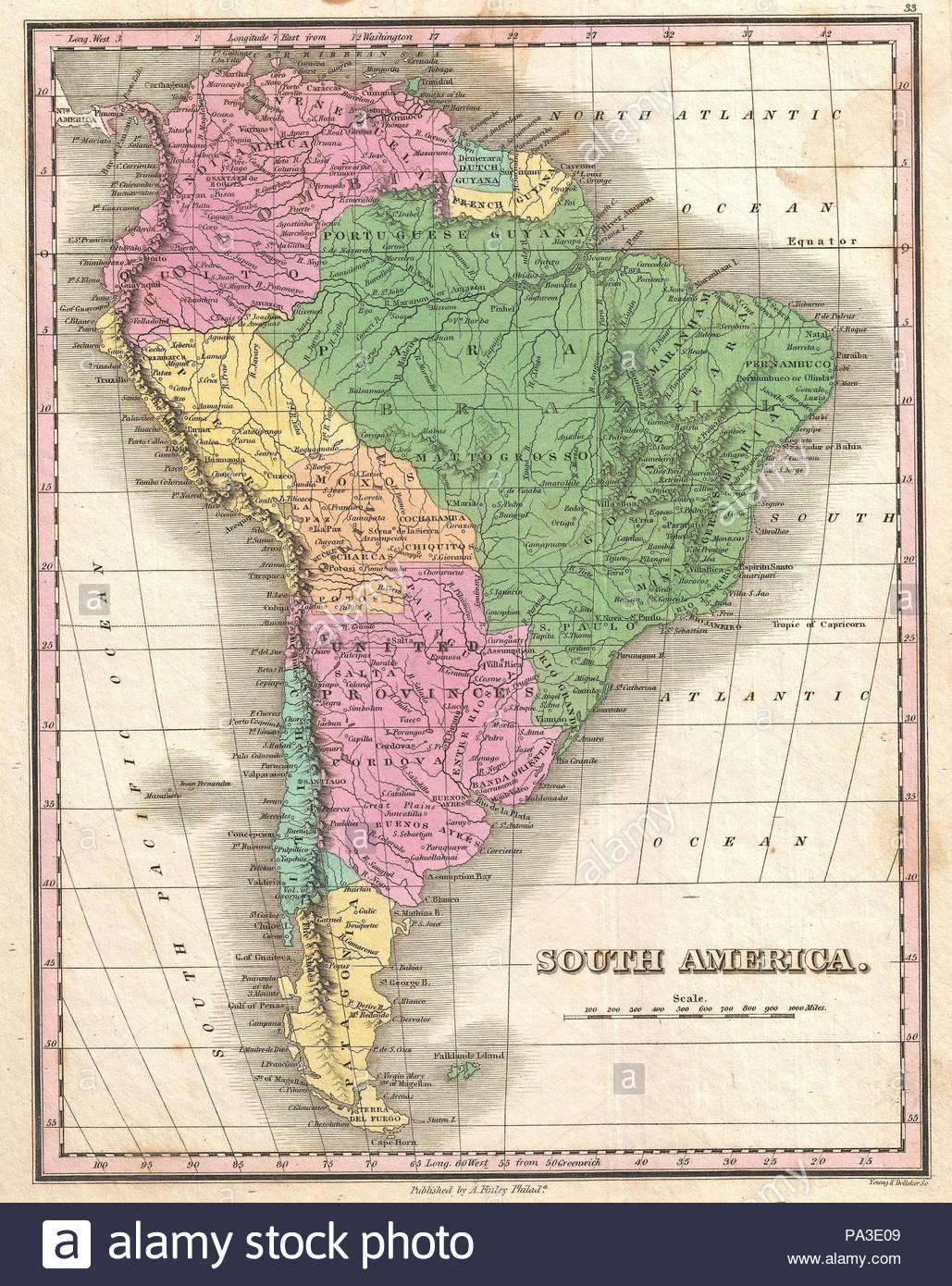1827, Finley Map of South America, Anthony Finley mapmaker of the ...