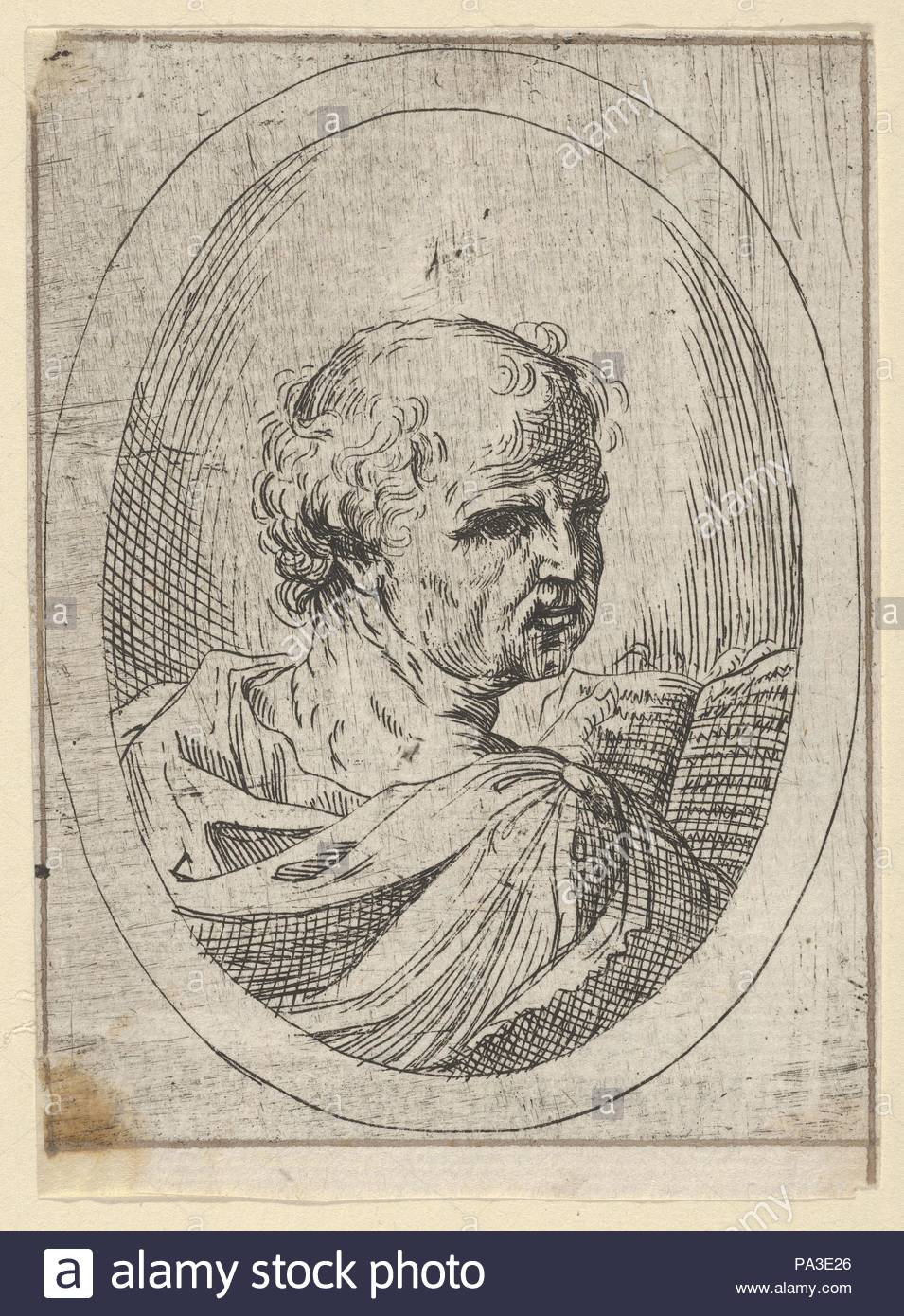 An apostle seen from behind and turning to the right, holding an ...