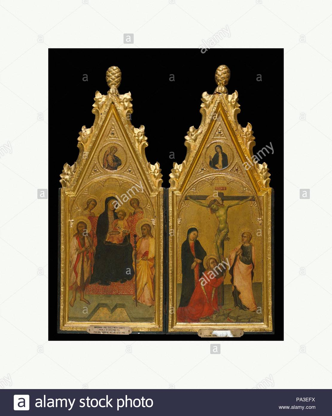 Diptych with tabernacle frames, ca. 1400–1410, Sienese, Poplar. Carved, gilt; red-orange bole., Overall, left, 46.5 x 19.8 cm, right, 46.9 x 19.6 cm; sight, both 40.6 x 16.5 cm; engaged., Frames, The gable ornament on this diptych by Paolo di Giovanni Fei, with paterae that have been regessoed, regilt, and repunched, appears to be too bold for the paitnigns: a 'Madonna and Child Enthroned with Two Angels, Saints James the Great and John the Baptist, and the Annunciatory Angel' (left wing) and a 'Crucified Christ with the Virgin, Saint Mary Magdelene, Saint John the Evangelist, and the Virgin A - Stock Image