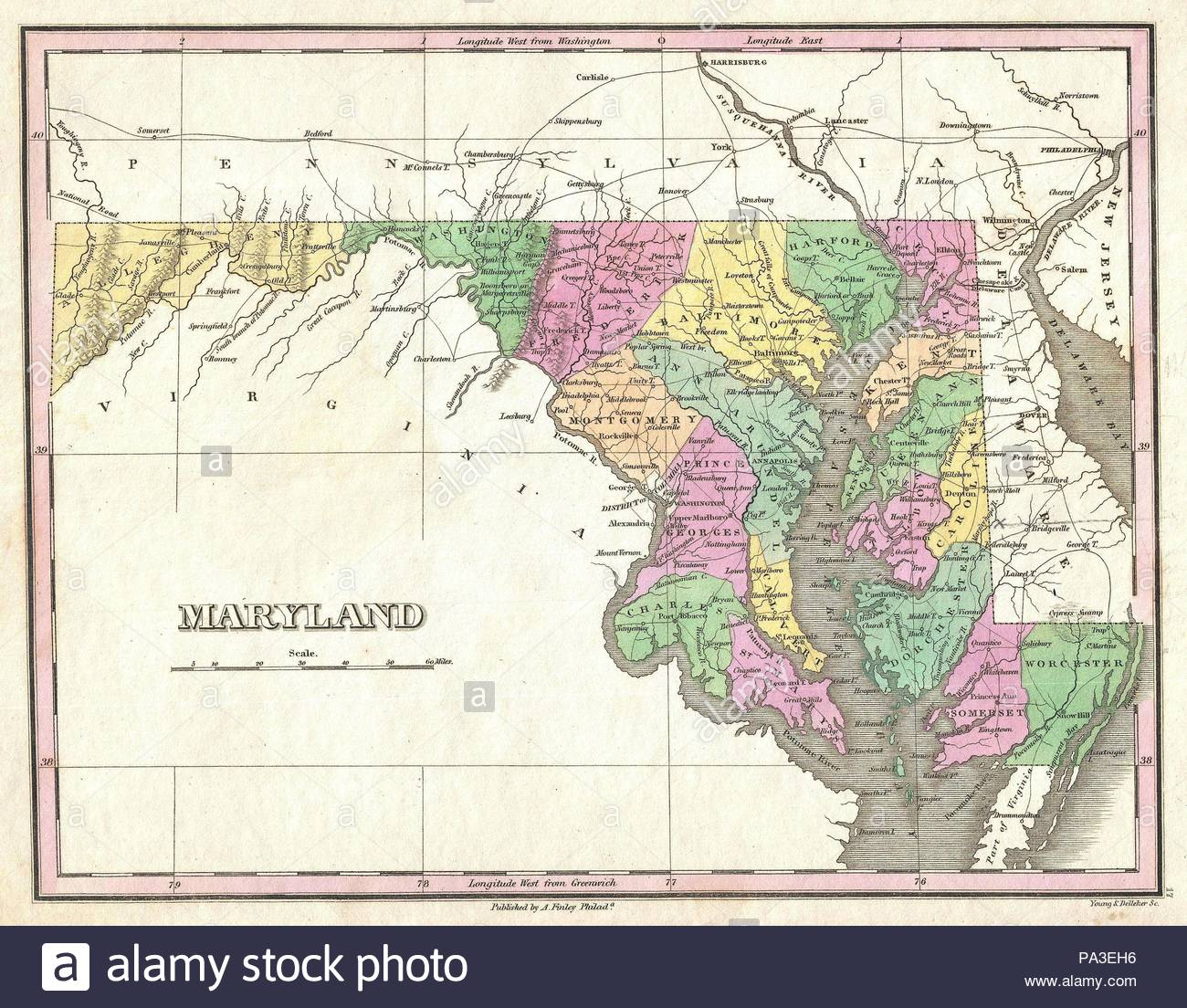 1827, Finley Map of Maryland, Anthony Finley mapmaker of the United ...