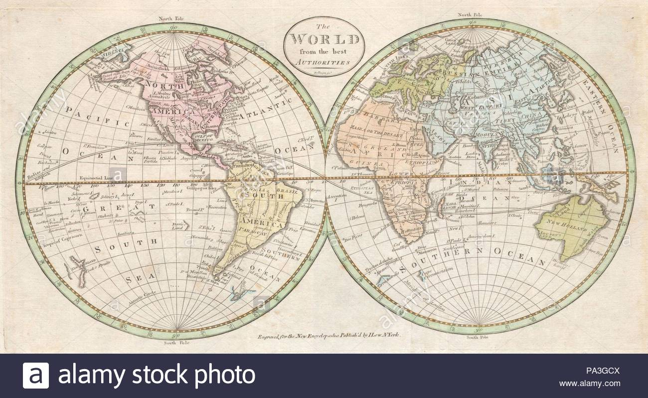 1798, Payne Map of the World, pre 1800 American Map Stock Photo ...