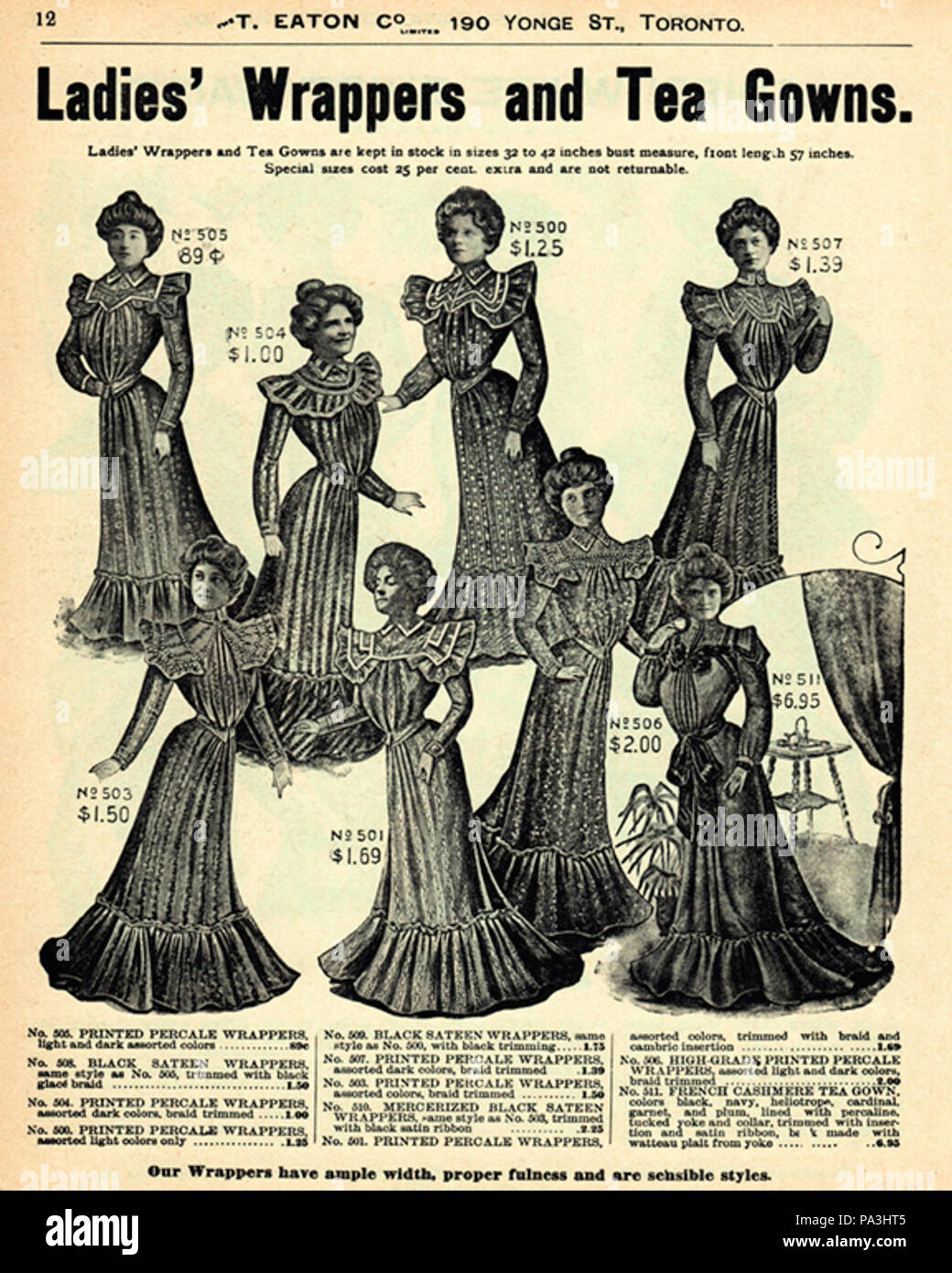 600 Eatons Catalog -46 (Ladies Wrappers and Tea Gowns Stock Photo ...