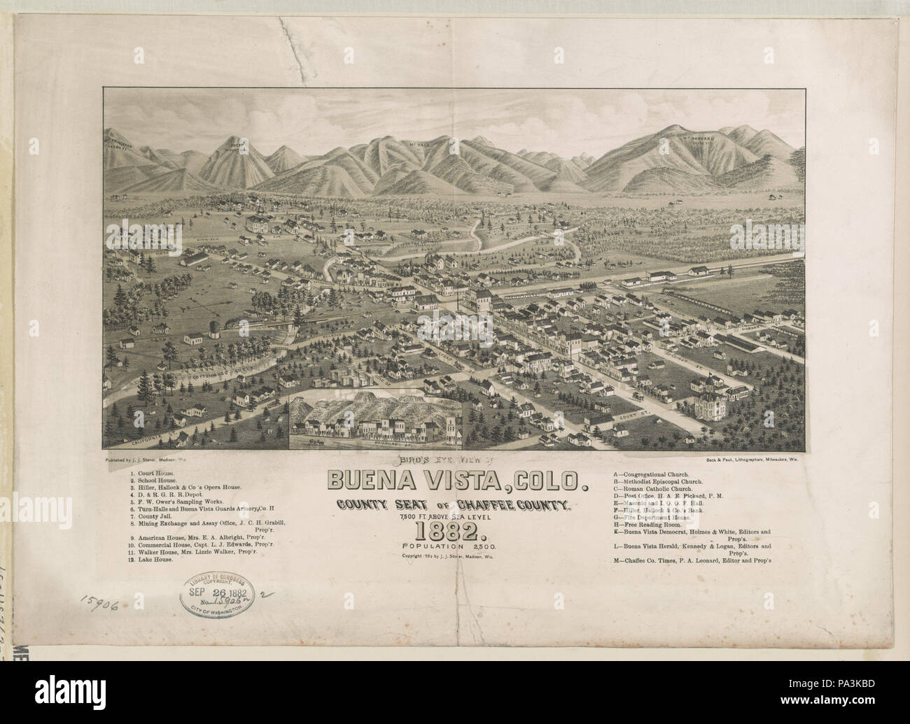 205 Bird's eye view of Buena Vista, Colo. County Seat of Chaffee County 1882 LCCN2003654954 - Stock Image